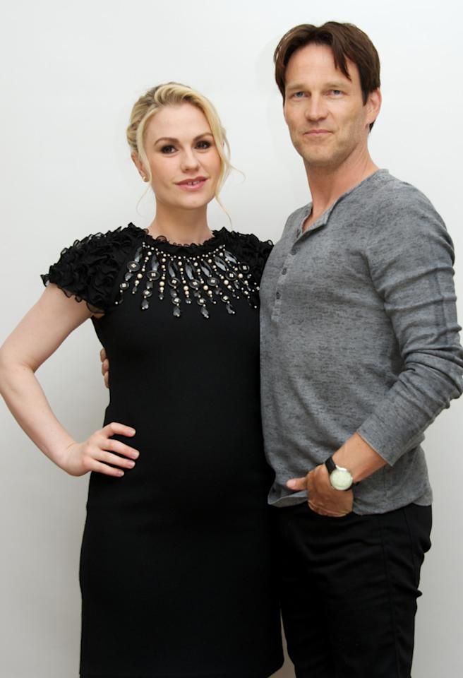 "BEVERLY HILLS, CA - JUNE 24:  Anna Paquin and Stephen Moyer at the ""True Blood"" Press Conference at the Four Seasons Hotel on June 24, 2012 in Beverly Hills, California.  (Photo by Vera Anderson/WireImage)"