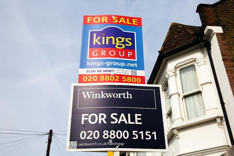 Estate agents property for sale boards on display outside a residential property in north London. The number of house sales increased in August 2019 according to Rightmove, up 6.1\% a year earlier. (Photo by Dinendra Haria / SOPA Images/Sipa USA)