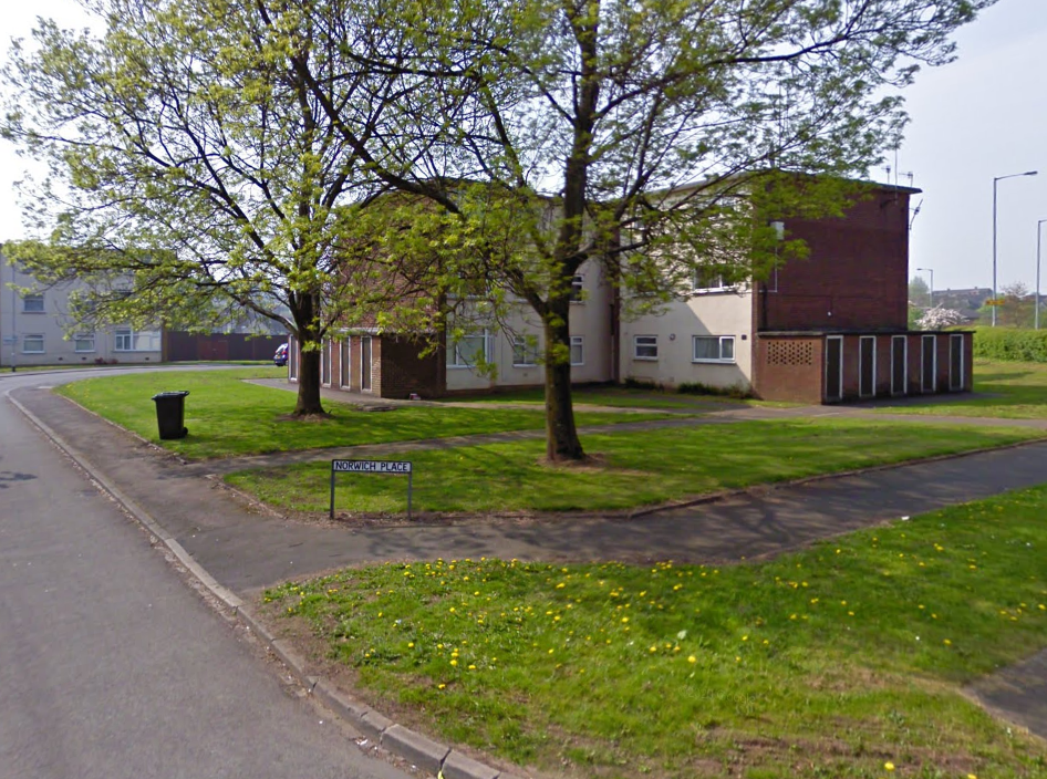 A block of flats in Norwich Place, Staffordshire, where Pawel Laszniewski's body was found after three months (Google Maps)