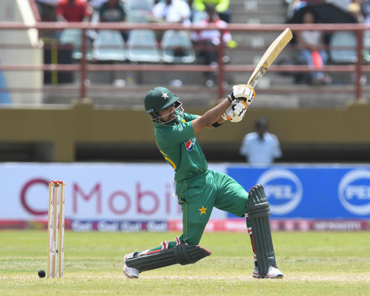 Babar Azam of Pakistan hits 6 during the 2nd ODI match between West Indies and Pakistan at Guyana National Stadium, Providence, Guyana, April 9, 2017 (AFP Photo/Randy BROOKS)