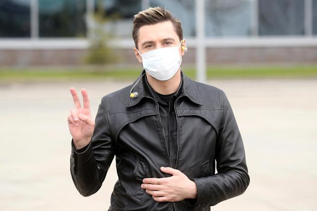 Singer Dima Bilan poses in Moscow after performing at a concert to mark the 75th anniversary of victory over Nazi Germany. (Getty Images)