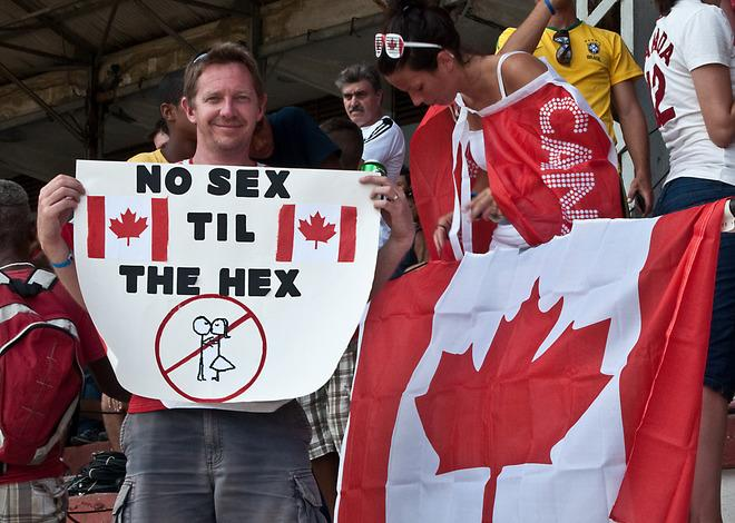 A Canadian football fan shows a poster during the FIFA World Cup Brazil 2014 CONCACAF qualifier match between Cuba and Canada at the Pedro Marrero stadium in Havana on June 8, 2012.  Canada won 1-0.  AFP PHOTO/STRSTR/AFP/GettyImages