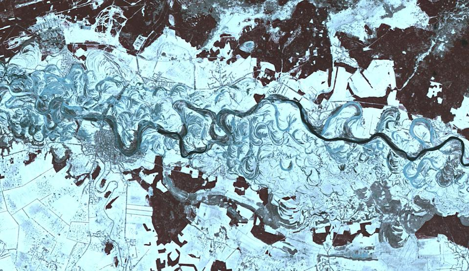 This wintery landscape may look like the scene of an ancient, frosty river on Mars, but this image was taken by a satellite orbiting our own planet. The winding waterway flowing through this frame is the Dnieper River in Ukraine. It is the fourth-longest river in Europe, with a total length of about 1,400 miles (2,200 kilometers). NASA's Terra satellite captured this view of a portion of the Dnieper River near the Ukrainian city of Oster using its Advanced Spaceborne Thermal Emission and Reflection Radiometer (ASTER) instrument, which images Earth to map and monitor the changing surface of our planet.