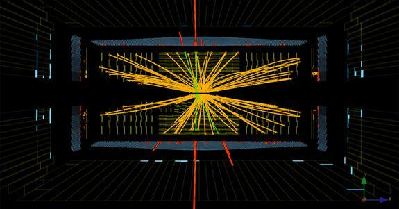 Real CMS proton-proton collisions events at the Large Hadron Collider in which 4 high energy electrons (red towers) are observed. The event shows characteristics expected from the decay of a Higgs boson but is also consistent with background St