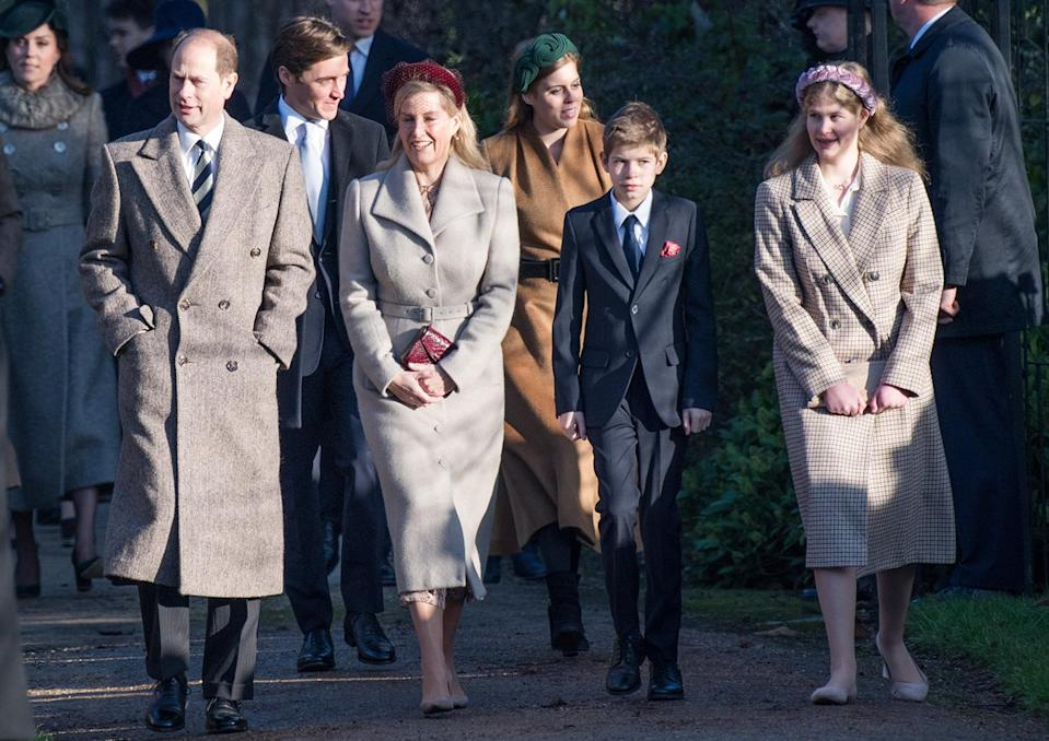 <p>Prince Edward, Sophie Wessex and their children, James, Viscount Severn and Lady Louise Windsor, stroll after the service.</p>