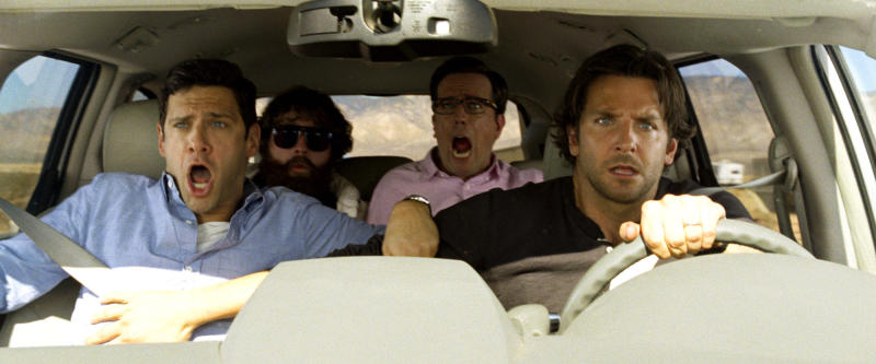 "This undated publicity photo released by Warner Bros. Pictures shows, from left, Justin Bartha as Doug, Zach Galfianakis as Alan, Ed Helms as Stu and Bradley Cooper as Phil in ""The Hangover Part III."" (AP Photo/Warner Bros. Pictures)"