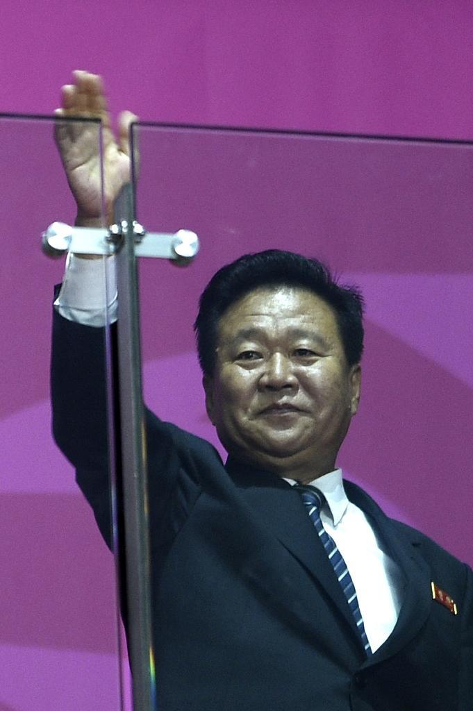 North Korea's Choe Ryong-Hae, a member of the ruling party's politburo standing committee and seen as one of Kim Jong-Un's closest confidantes, at the closing ceremony of the 2014 Asian Games in Incheon on October 4, 2014 (AFP Photo/Martin Bureau)
