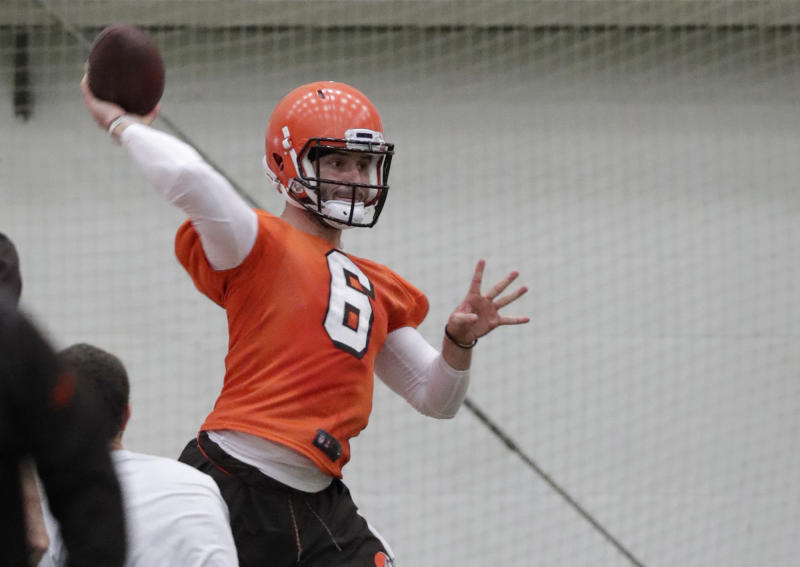 Cleveland Browns quarterback Baker Mayfield passes during rookie minicamp last week. (AP)