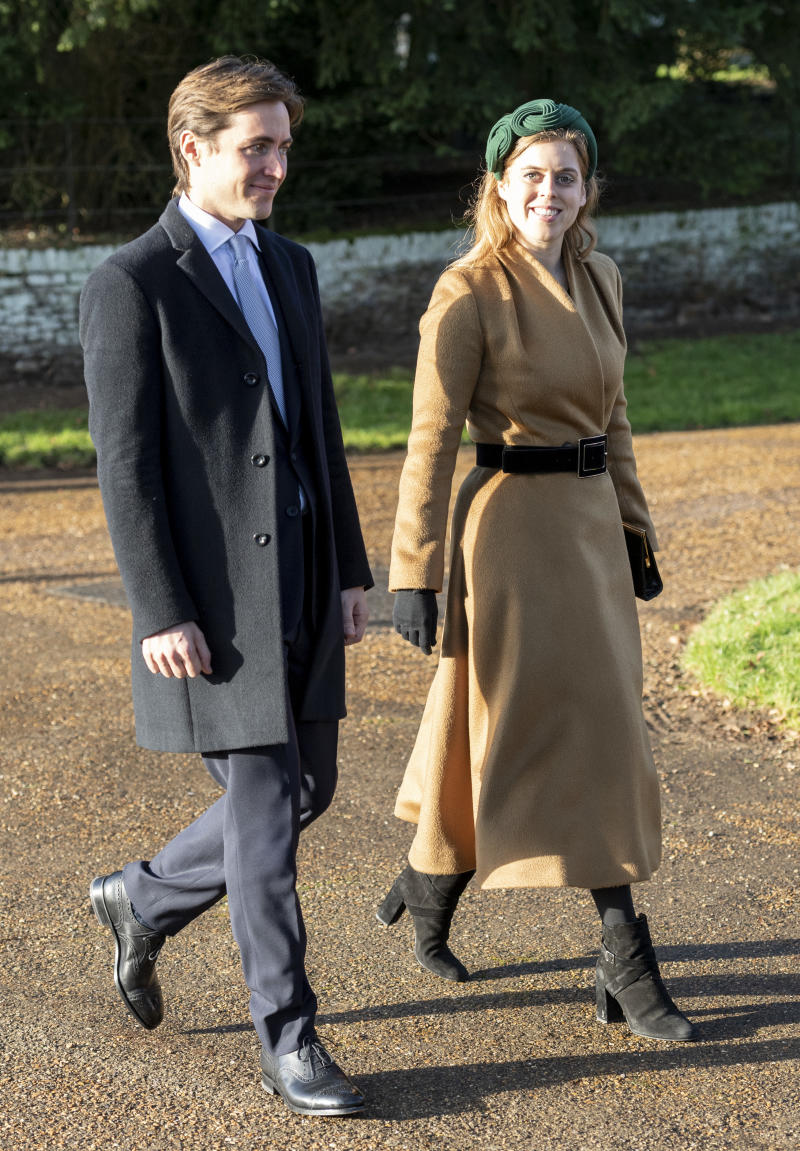 Princess Beatrice and Edoardo Mapelli Mozziconi attend the Christmas Day Church service at Church of St Mary Magdalene on the Sandringham estate on December 25, 2019 in King's Lynn, United Kingdom.