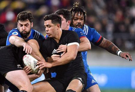 Rugby Union - June Internationals - New Zealand vs France - Westpac Stadium, Wellington, New Zealand - June 16, 2018 - Anton Lienert-Brown of New Zealand is tackled by players from France. REUTERS/Ross Setford