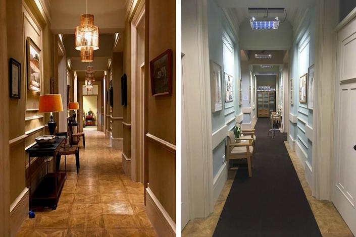 Side by side images show two hallways bearing similar architectural styles but with different decorative motifs