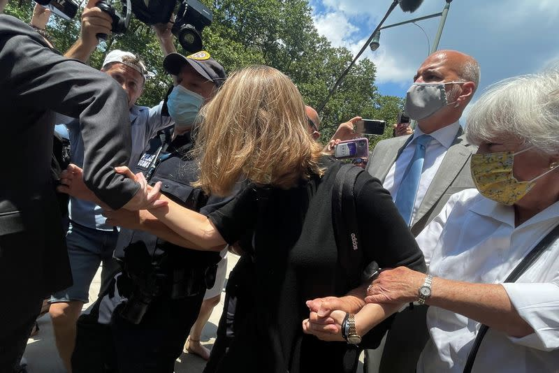 Actor Allison Mack exits court after being sentenced for her part in NXIVM cult in New York City