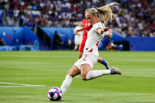 #22 Beth Mead of England passes the ball during the 2019 FIFA Women's World Cup France Semi Final match between England and USA at Stade de Lyon on July 02, 2019 in Lyon, France. (Photo by Zhizhao Wu/Getty Images)