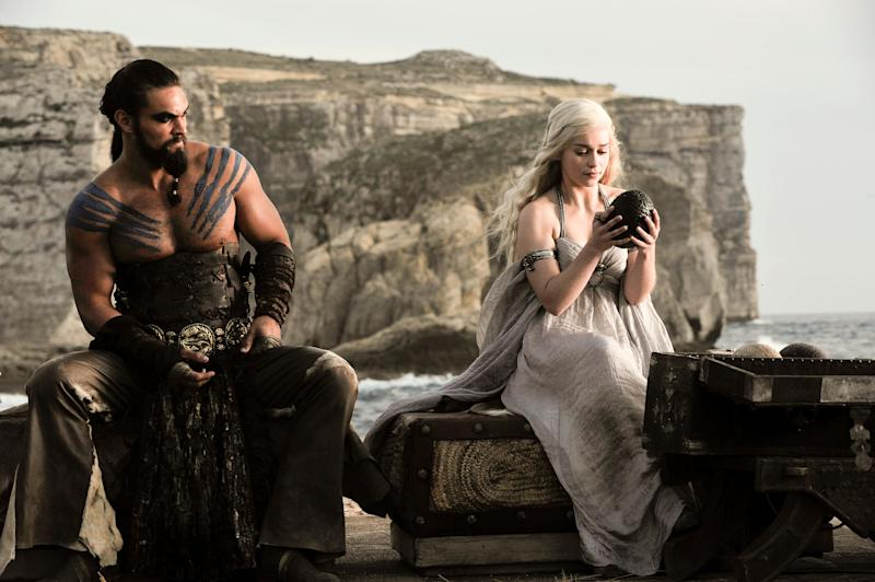 Dany with Khal Drogo at their wedding reception. She received three dragon eggs from Magister Illyrio.  (Photo: Helen Sloan/HBO)