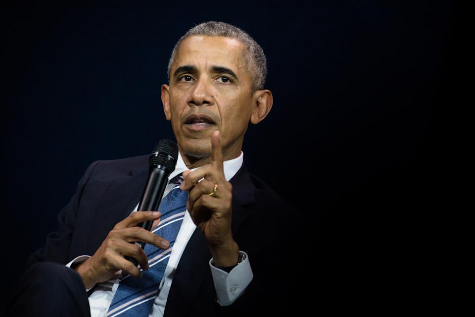 Introductory session by President Barack Obama during the Napoleons 2018 at Maison de la Radio on December 2, 2017 in Paris, France.