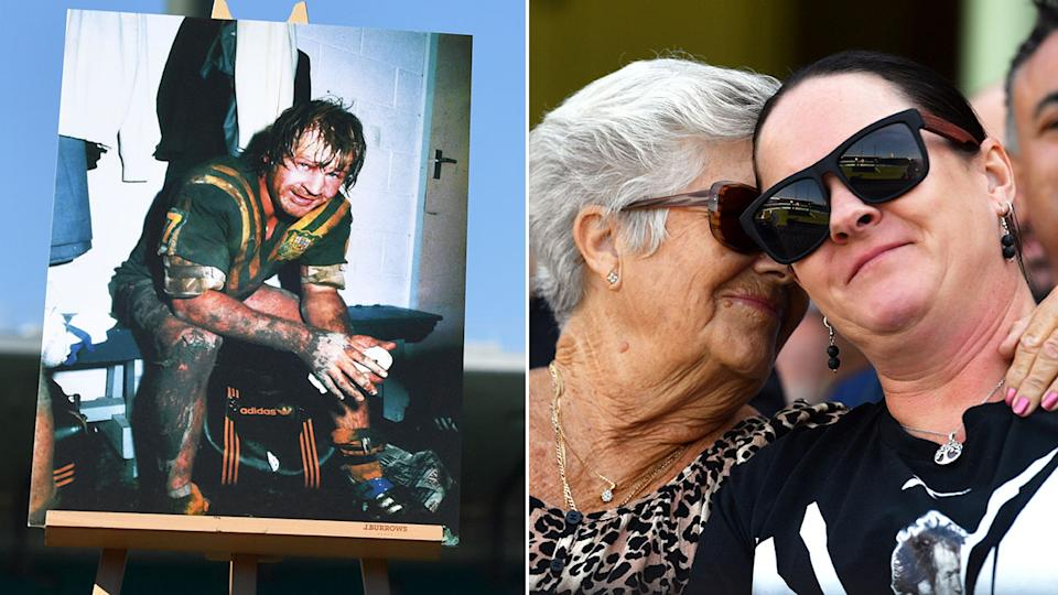 A Tommy Raudonikis' picture is positioned proudly as wife Trish watches the memorial service from the crowd.