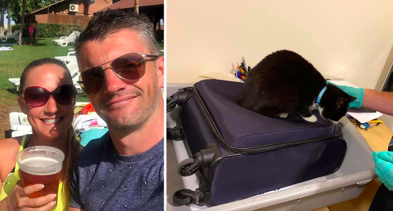 Nick and Voirrey Coole were shocked to discover their cat had snuck into their luggage (Caters)