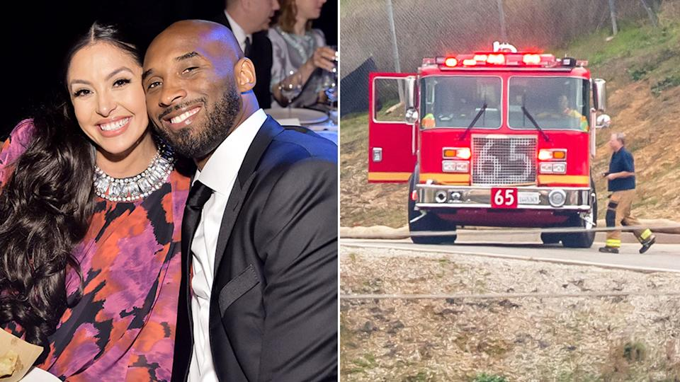 Pictured here, Vanessa and Kobe Bryant and the site where the NBA great died in a helicopter crash.