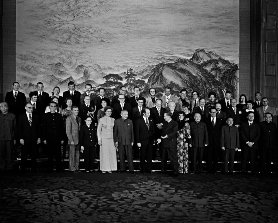 Former Chinese premier Zhou Enlai chats with former prime minister Pierre Trudeau at a banquet held at the Great Hall of the People in Beijing, China, on Oct. 11, 1973. The two leaders and Margaret Trudeau posed for a group photo with Canadian and Chinese officials. THE CANADIAN PRESS/PETER BREGG