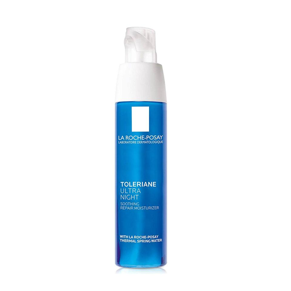 """<p>Moisturizing ingredients including shea butter, glycerin, and antioxidants all work together in La Roche-Posay Toleriane Ultra Night Face Moisturizer to offer intense hydration and soothing benefits for even the most sensitive skin types.</p> <p><strong>$30</strong> (<a href=""""https://amzn.to/2TWmKll"""" rel=""""nofollow noopener"""" target=""""_blank"""" data-ylk=""""slk:Shop Now"""" class=""""link rapid-noclick-resp"""">Shop Now</a>)</p>"""