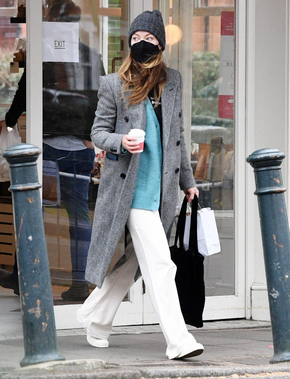<p>Olivia Wilde grabs a solo birthday breakfast on Wednesday in London.</p>