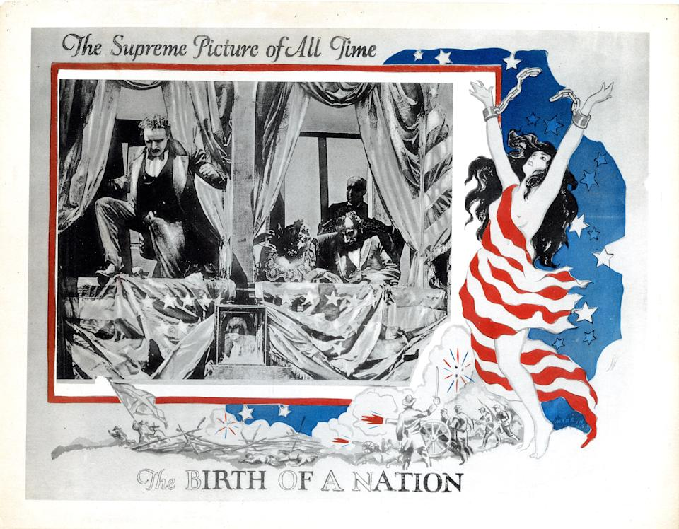 The Birth Of A Nation, poster, from left: Raoul Walsh, as John Wilkes Booth, Alberta Lee, Joseph Henabery, as Abraham Lincoln, 1915. (Photo by LMPC via Getty Images)