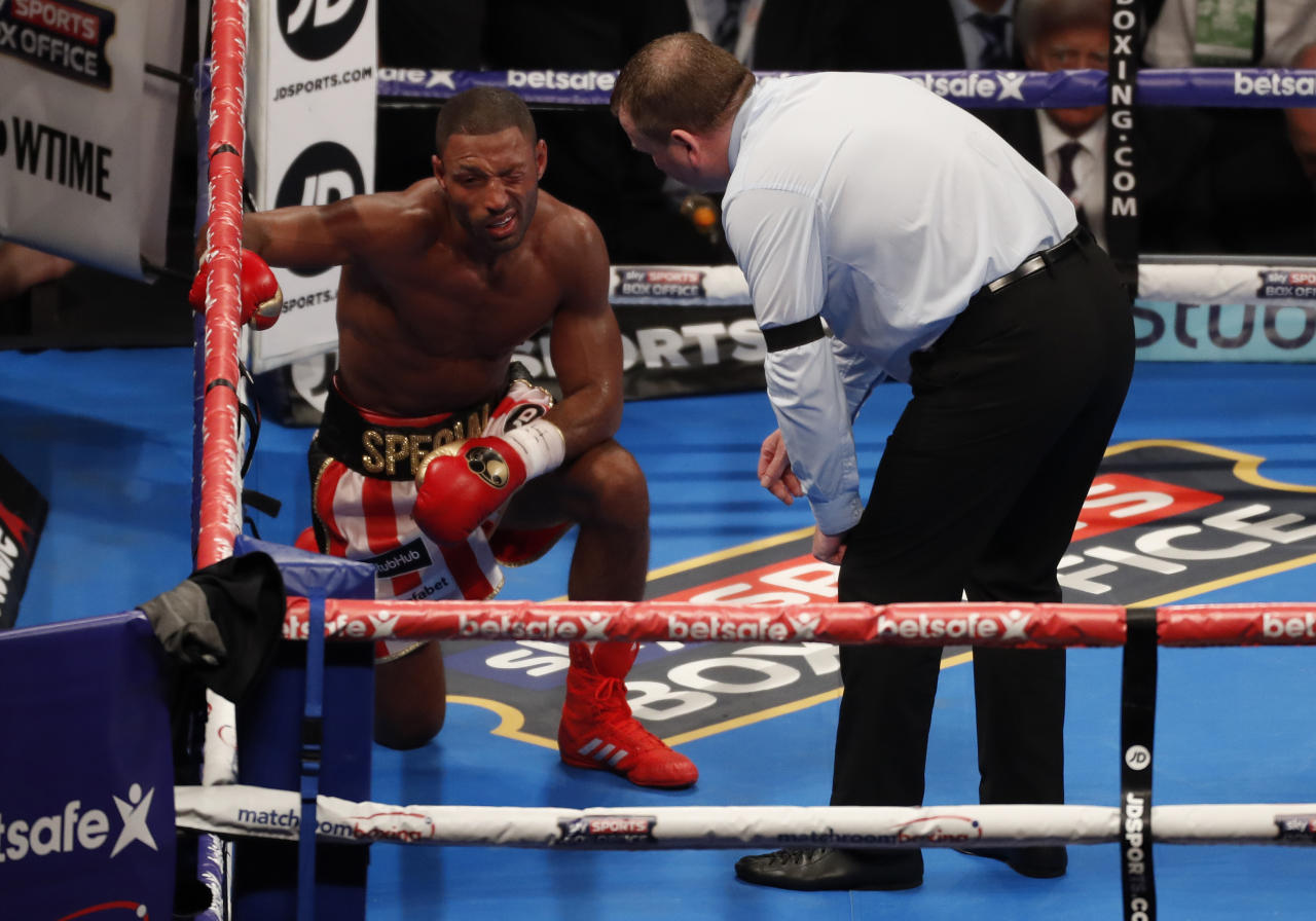Britain Boxing - Kell Brook v Errol Spence IBF World Welterweight Title - Bramall Lane, Sheffield - 27/5/17 The referee attends to Kell Brook after he was knocked down by Errol Spence Action Images via Reuters / Carl Recine Livepic