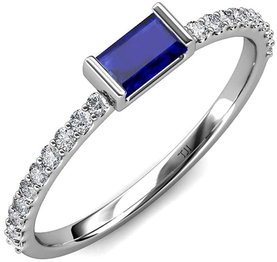 <p>The <span>TriJewels Baguette Blue Sapphire and Round Diamond Ring</span> ($506) is a gorgeous ring perfect for stacking!</p>