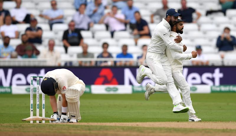 NOTTINGHAM, ENGLAND - AUGUST 21: Ollie Pope of England reacts after being caught out Virat Kohli of India during day four of the Specsavers 3rd Test match between England and India at Trent Bridge on August 21, 2018 in Nottingham, England. (Photo by Gareth Copley/Getty Images)