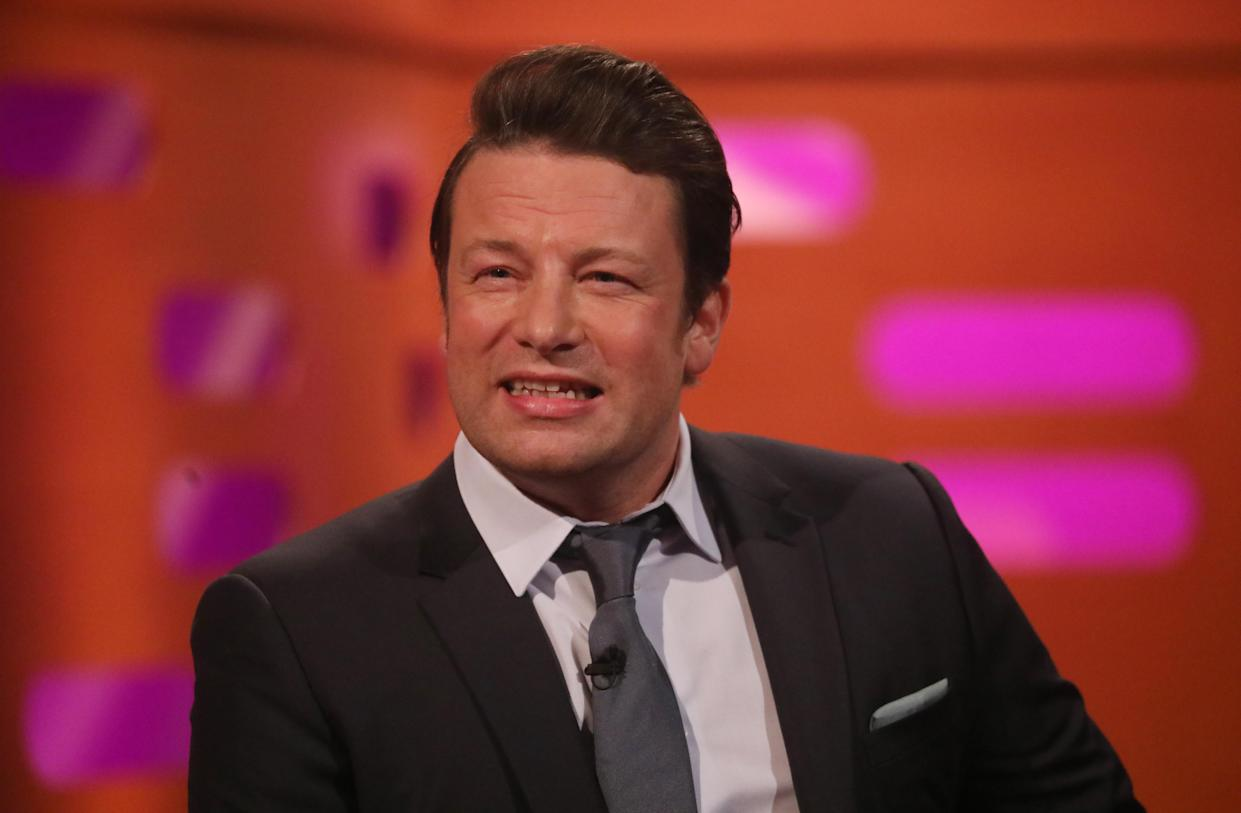 Jamie Oliver during the filming for the Graham Norton Show at BBC Studioworks 6 Television Centre, Wood Lane, London, to be aired on BBC One on Friday evening.