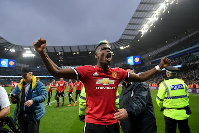 Paul Pogba celebrates Manchester United's derby win over Manchester City. (Getty)
