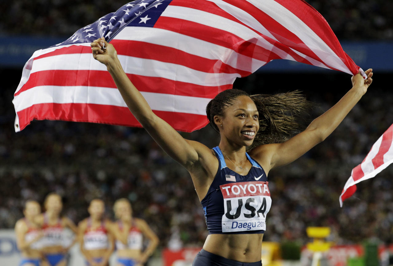 USA's Allyson Felix celebrates their win in the Women's 4x100m Relay final at the World Athletics Championships in Daegu, South Korea, Sunday, Sept. 4, 2011. (AP Photo/Anja Niedringhaus)