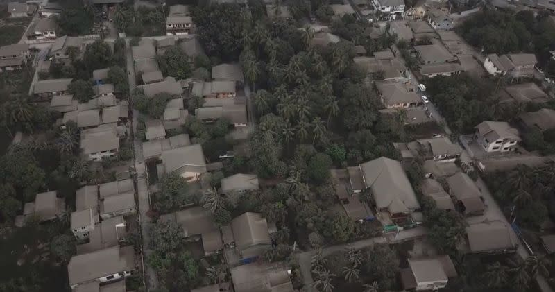 Aerial view shows buildings covered in volcanic ash in Calaca