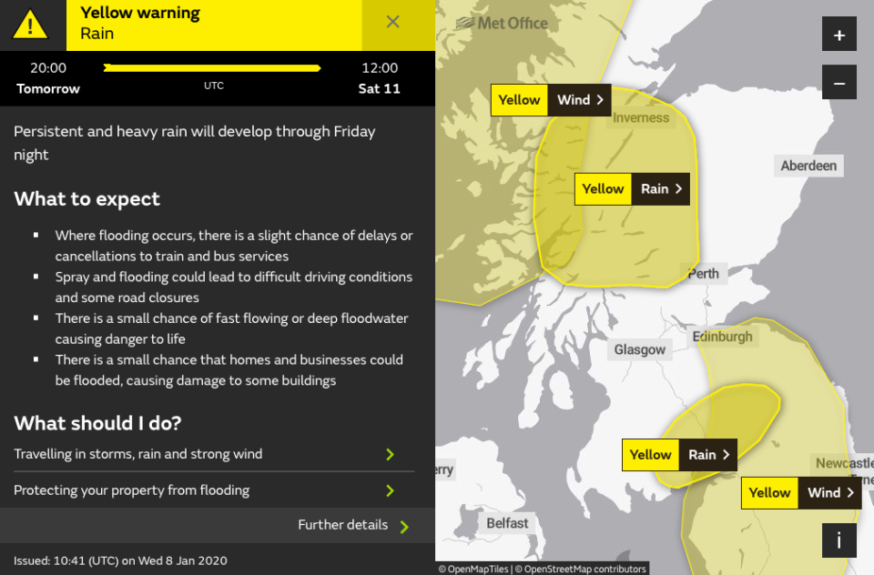 Yellow warnings bring a threat of 'danger to life' (Met Office)