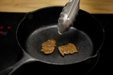 Chef cooks lab-grown steak produced from cow cells by Israeli company Aleph Farms in Rehovot, Israel