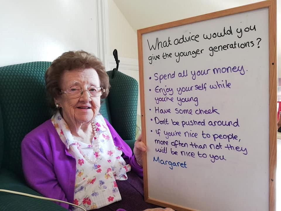 Yelverton Residential Home resident Margaret had a long list of advice for young people. (SWNS)
