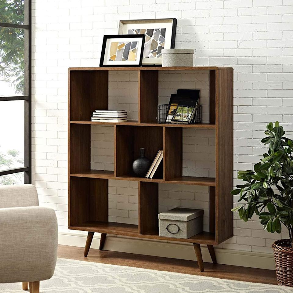 <p>If your home office is in need of more storage space, consider this <span>Modway Transmit Mid-Century Offset Cube Wood Bookcase </span> ($194, originally $329).</p>