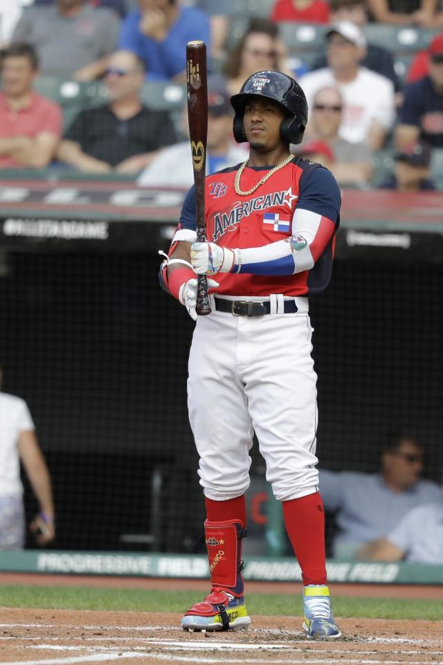 Wander Franco, of the Tampa Bay Rays, waits to hit during the MLB All-Star Futures baseball game, Sunday, July 7, 2019, in Cleveland. The 90th MLB baseball All-Star Game will be played Tuesday. (AP Photo/Darron Cummings)