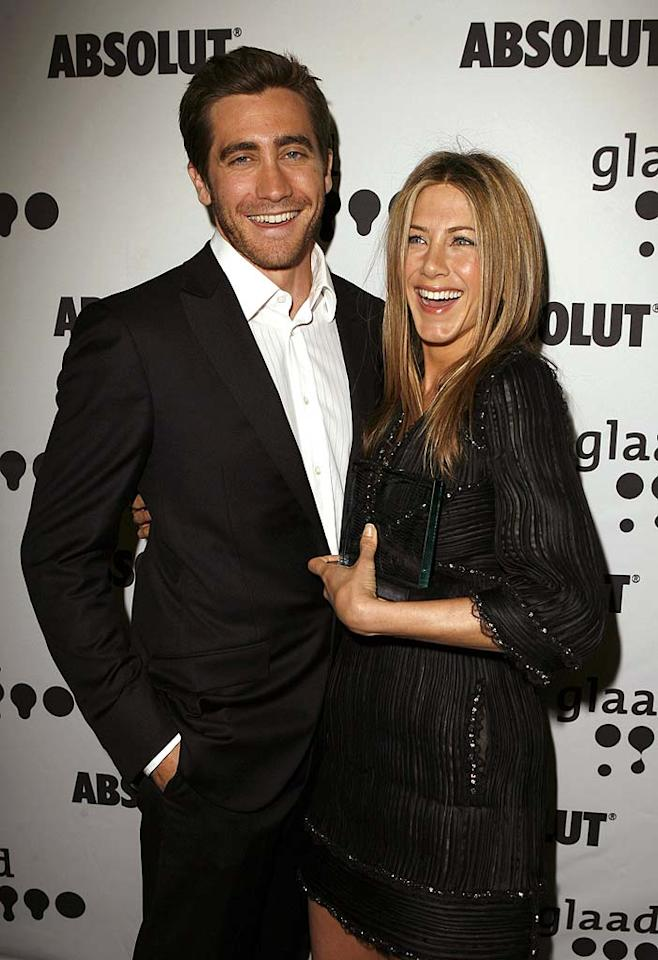 "According to a story from X17 Online and <i>Life & Style</i>, ""Jennifer Aniston celebrated her 42nd birthday on Feb. 11 by having an intimate dinner with Jake Gyllenhaal in NYC."" During Aniston's ""hot birthday date,"" report the outlets, ""Jake and Jen looked really happy"" and were even ""glowing."" For the inside scoop about their ""intimate dinner"" and simmering romance, read what an Aniston pal admits to <a href=""http://www.gossipcop.com/jennifer-aniston-birthday-jake-gyllenhaal-adam-sandler-spotted-pig-42/"" target=""new"">Gossip Cop</a>. Jeff Vespa/<a href=""http://www.wireimage.com"" target=""new"">WireImage.com</a> - April 14, 2007"