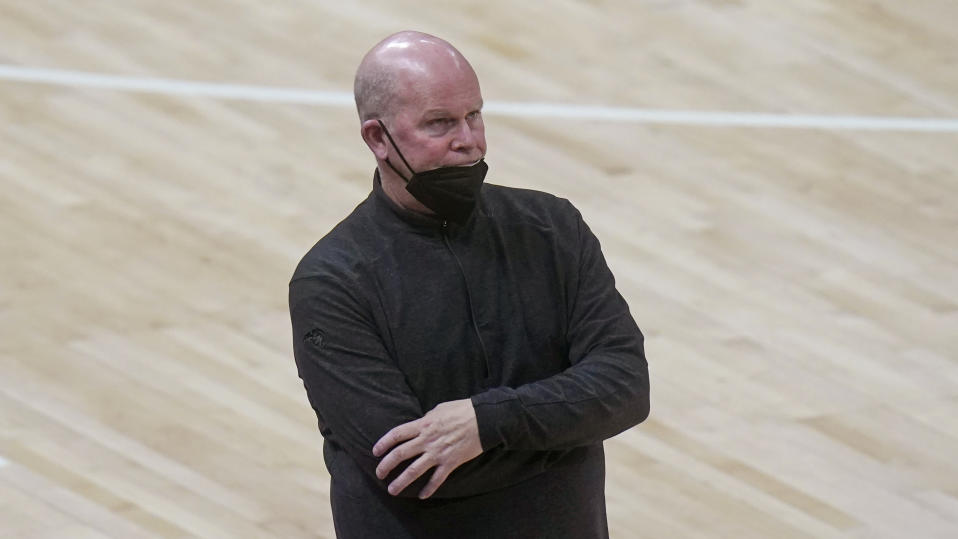 Orlando Magic head coach Steve Clifford looks on in the second half of an NBA basketball game against the Utah Jazz, Saturday, April 3, 2021, in Salt Lake City. (AP Photo/Rick Bowmer)