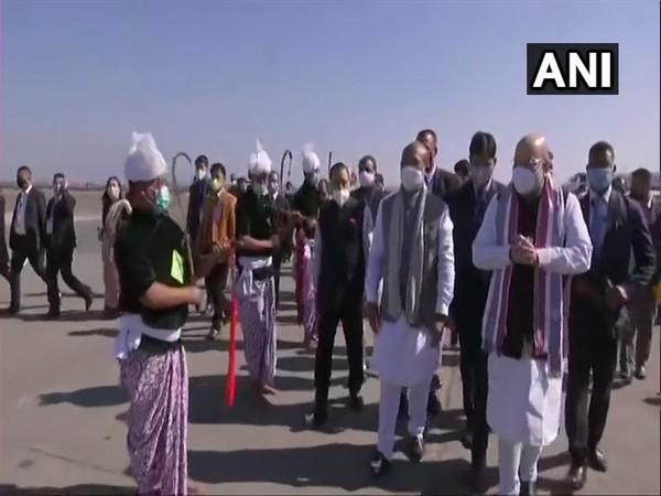 Union Home Minister Amit Shah reached Imphal on Sunday. (Photo/ANI)