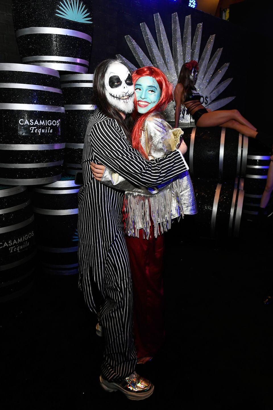 <p>Musician Steve Aoki and actress Nicole Zimmerman brought Halloween classic <em>The Nightmare Before Christmas</em> to life at the 2018 Casamigos Halloween party, dressed as Jack Skellington and Sally.</p>