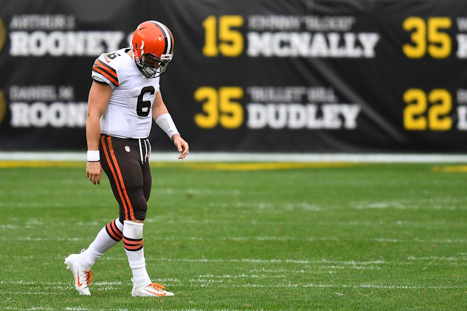 It was not a good day for the Browns and quarterback Baker Mayfield as they fell to the Pittsburgh Steelers in Week 6. (Photo by Joe Sargent/Getty Images)