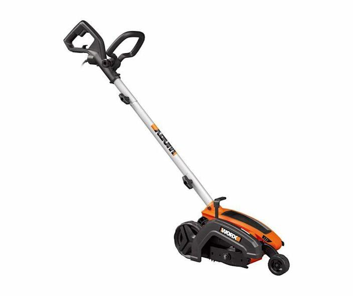 """<p><strong>Worx</strong></p><p>amazon.com</p><p><strong>$93.53</strong></p><p><a href=""""https://www.amazon.com/dp/B00Q6EH7DW?tag=syn-yahoo-20&ascsubtag=%5Bartid%7C10060.g.36050503%5Bsrc%7Cyahoo-us"""" rel=""""nofollow noopener"""" target=""""_blank"""" data-ylk=""""slk:Shop Now"""" class=""""link rapid-noclick-resp"""">Shop Now</a></p><p><strong>Weight:</strong> 16 pounds   <strong>Motor:</strong> 12 amp</p><p>Edging, especially at full depth, takes lots of torque. That's why the Worx is powered by a 12-amp, 4,700-rpm motor. To put that in perspective, that's the kind of current that a mid-duty circular saw draws. But the Worx has more than power going for it. Its depth adjustment is simple and tool free: flip the latch open on the machine's side and move the wheel and mounting bracket to the desired depth, then flip the lever shut. Another feature we find intriguing is the machine's cut line indicator, a drop-down fin that rides in the trench being cut by the blade, steadying the machine and making a mis-cut a lot less likely.</p>"""