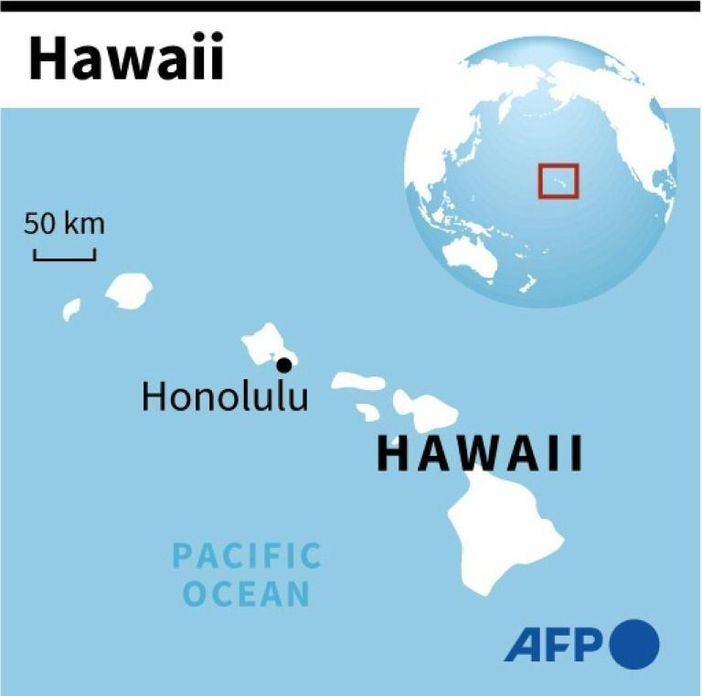 Map of Hawaii locating Honolulu where a Boeing 737 cargo aircraft was forced to make an emergency landing on the water