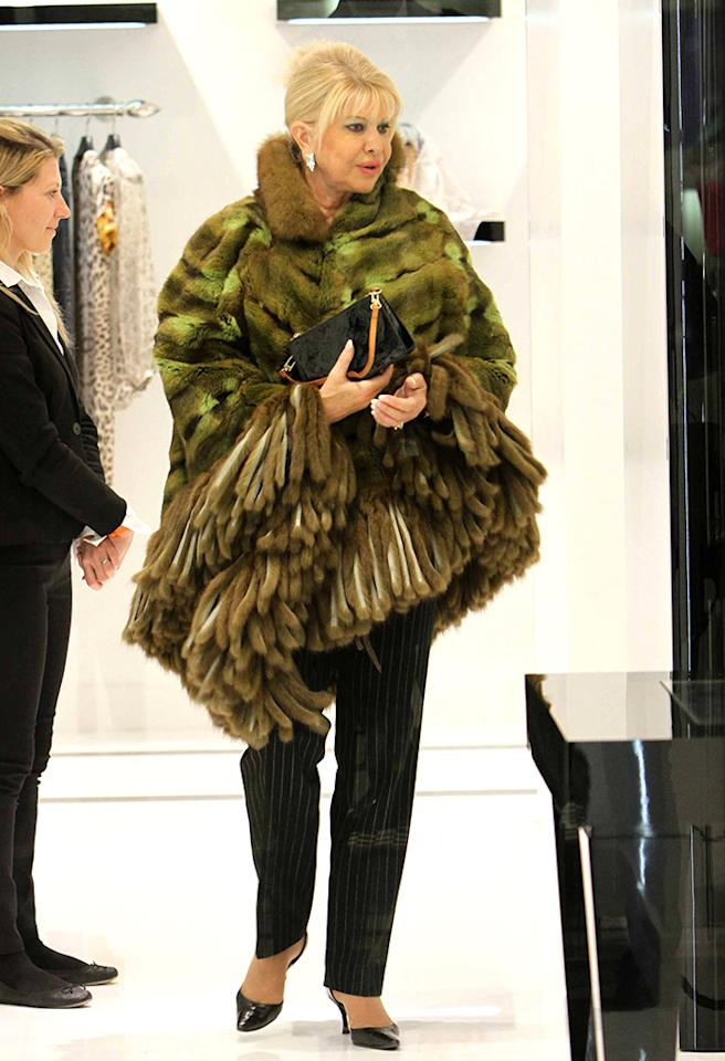 Ivana Trump shopping at RoccoBarocco in Milan.