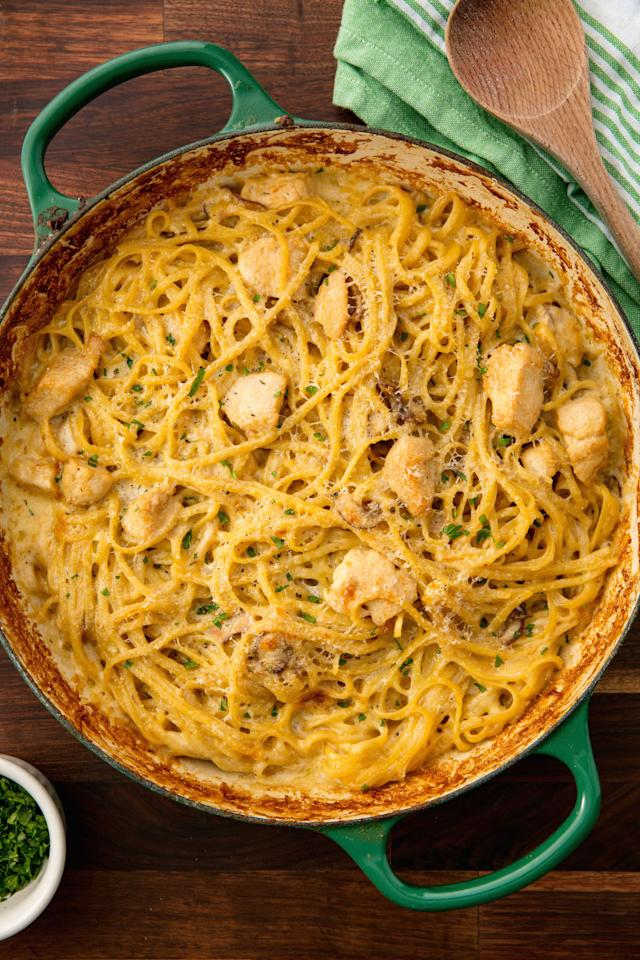 """<p><span>Comfort food at it's finest.</span></p><p>Get the recipe: <a rel=""""nofollow"""" href=""""http://www.delish.com/cooking/recipe-ideas/recipes/a6868/chicken-tetrazzini-recipe/"""">Chicken Tetrazzini</a></p>"""
