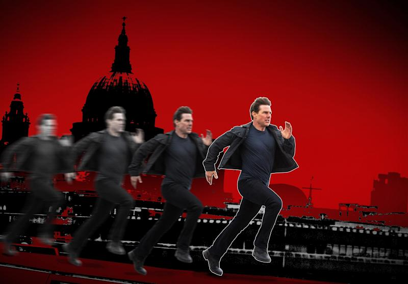 """In """"Mission Impossible: Fallout,"""" Tom Cruise out-Cruises himself? (Photo: Illustration: Damon Dahlen/HuffPost Photos: Paramount Pictures)"""