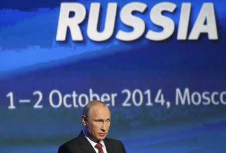 """Russia's President Putin speaks during the VTB Capital """"Russia Calling!"""" Investment Forum in Moscow"""