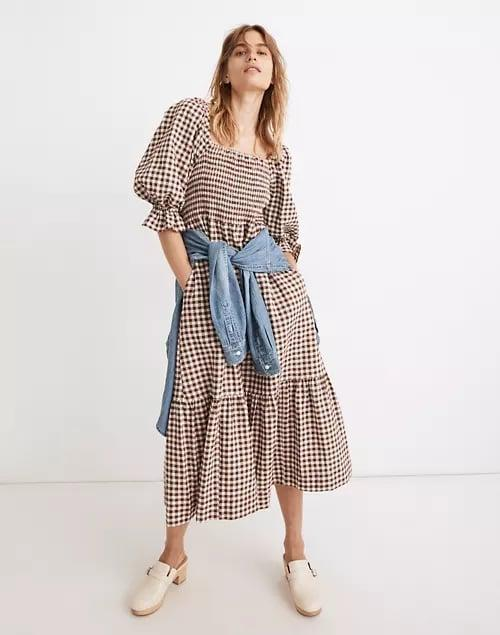 <p>On days when you want to be comfortable, this <span>Madewell Lucie Elbow-Sleeve Smocked Midi Dress</span> ($128) is the winner. The loose fit makes it easy to move or lounge in.</p>